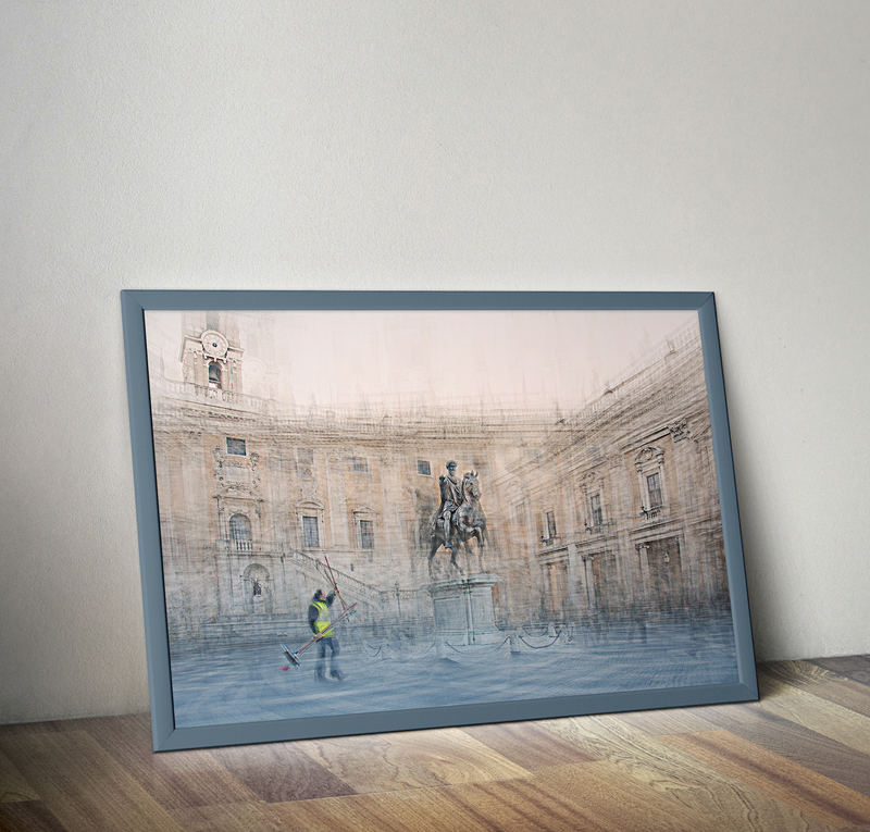 framed fine art print on the floor showing a multiple exposure image of piazza del campidoglio in rome