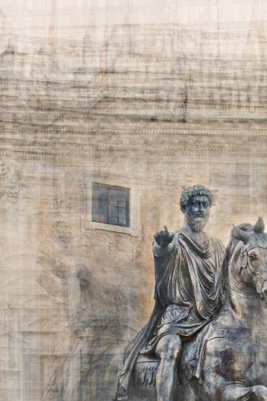 detail of the fine art print beneath the surface from the homage and the hero collection representing the statue of marco aurelio in piazza del campidoglio roma