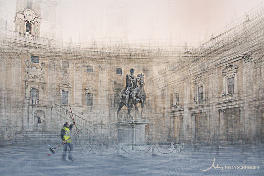 a man is holding some brooms in piazza del campidoglio in rome italy image from the limited edition collection the homage and the hero