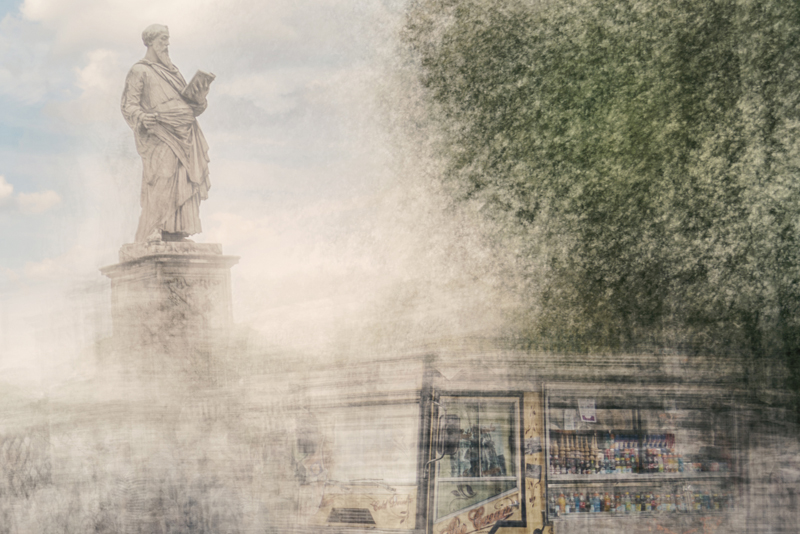 an image of a food truck and one of the statues at bridge ponte sant\'angelo in rome