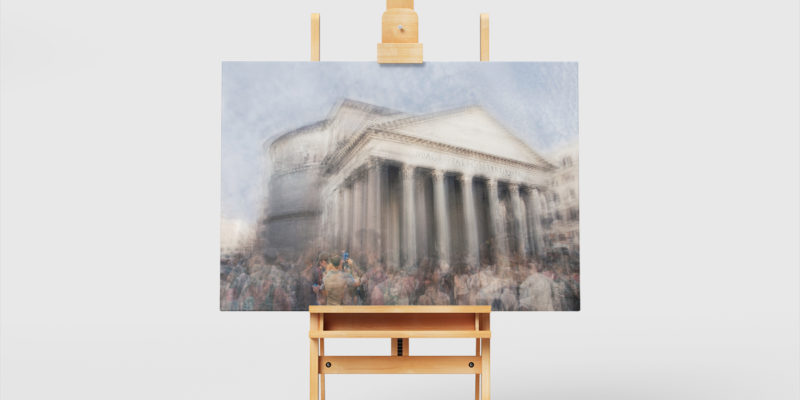 a fine art print of the pantheon in rome is on a painter easel