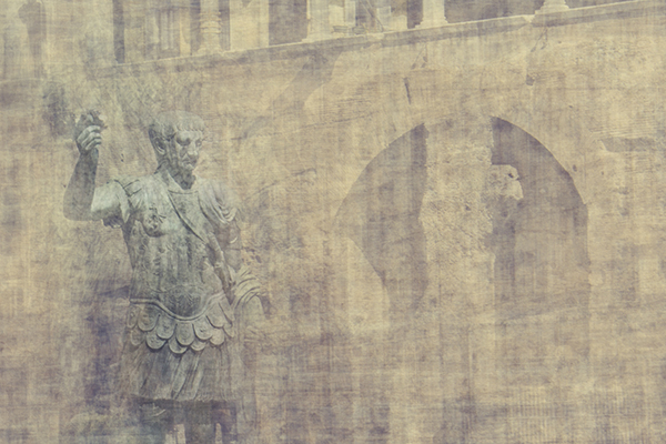 detail of the statue of traiano one of the roman emperors located on via dei fori imperiali in rome