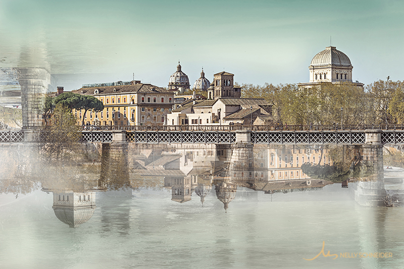 tiber island and bridge ponte palatino in rome italy