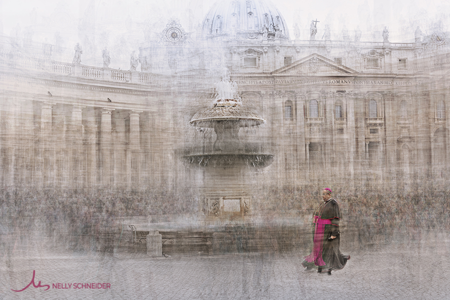 a monsignore walking in piazza del vaticano in rome next to a water fountain