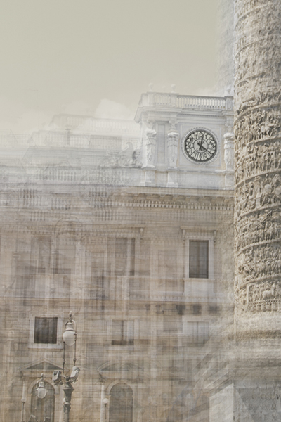 part of the column of marcus aurelius and the clock on top of building palazzo wedekind in rome