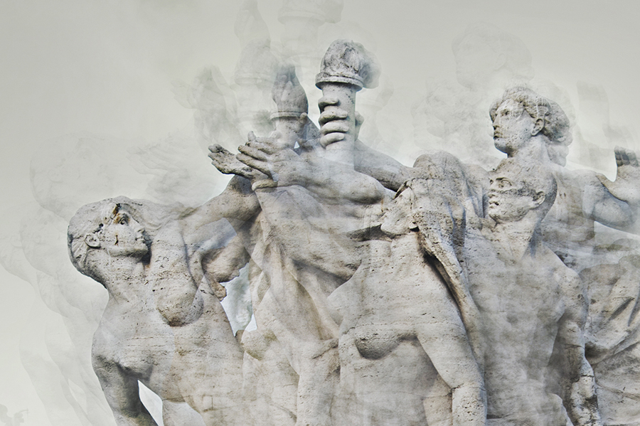 detail of one of the statues on bridge ponte vittorio emanuele ii in rome italy