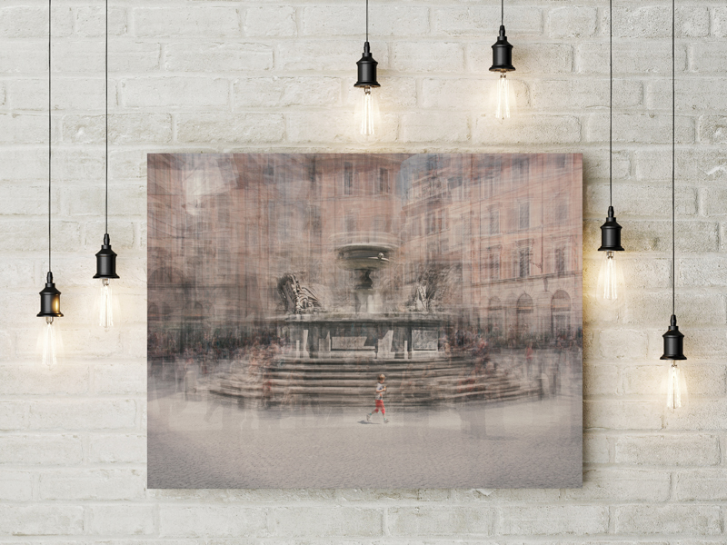 canvas hanging of the image of a kid running in piazza santa maria in trastevere in rome
