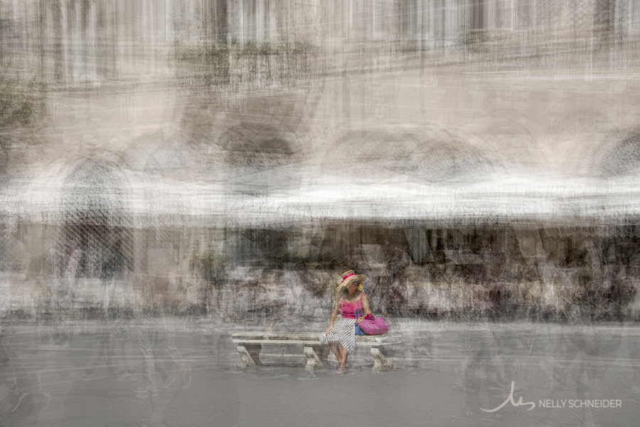a fine art print of a woman seating on a bench in piazza navona in rome italy