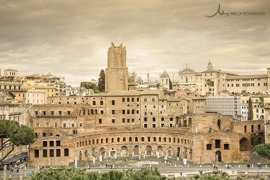 panoramic view of the mercati di traiano in rome
