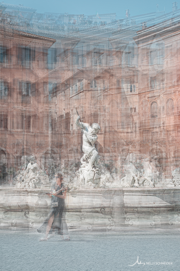 a woman walks in piazza navona in rome near the fountain of neptune